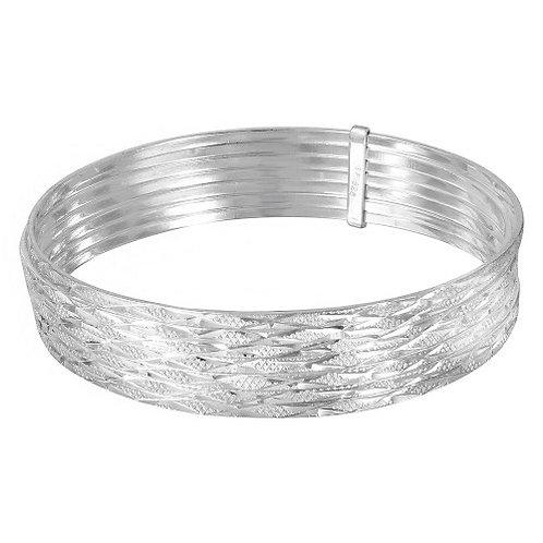 925 High Polished Criss Cross Diamond Cut Semanario Bangle Bracelet