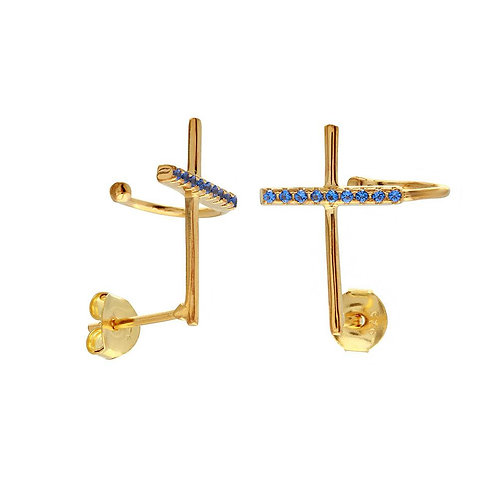 Blue Cross Sterling Silver Gold Plated Climbing Earrings