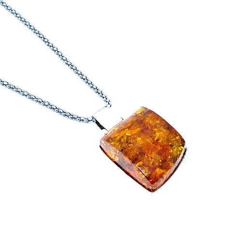 Natural Baltic Amber Square Sterling Silver Pendant
