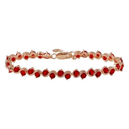 925 Rose Gold Plated Red CZ Tennis Bracelet