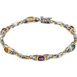"14t White/Yellow 1/10 CTW Diamond 7.5"" Bracelet"