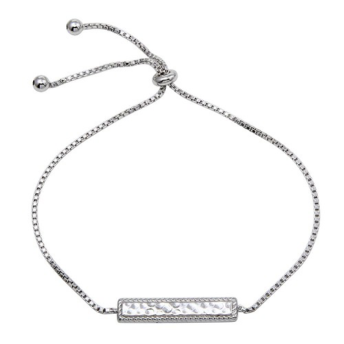 925 Rhodium Plated Bar Lariat Necklace