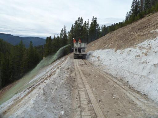 Hydroseeding right off the truck.