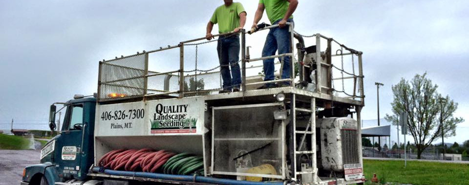 Some of our crew atop the hydroseeder.
