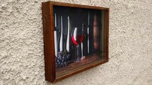 Quadro Porta Rolha Vinho Madeira Decoração Expositor 42x32x5