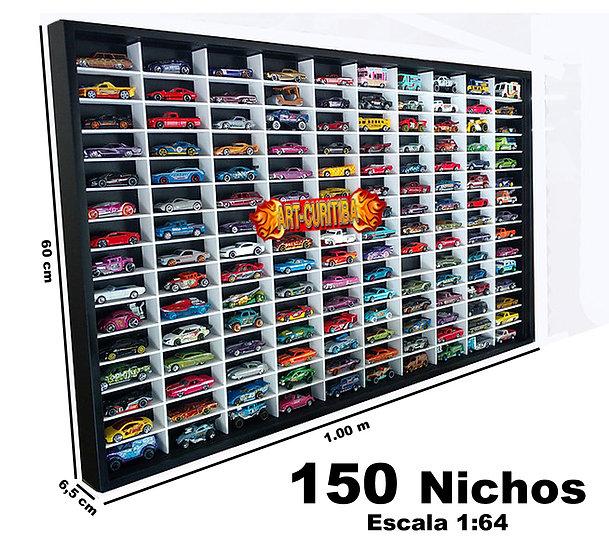 Estante Expositor Hot Wheels 150 Preta com Nichos Brancos.
