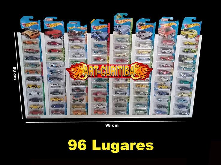 Expositor 96 Cartelas Porta Blisters 1:64 Coleção Carrinhos Hot - Preta
