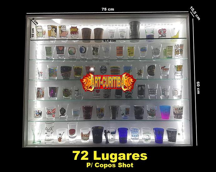 Estante 72 Copos Shot - ( Prateleira Vidro + Led ) Coleção
