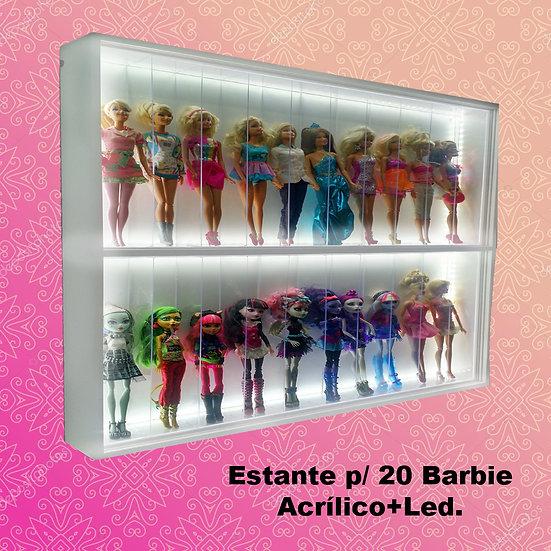 Estante Expositor p/ 20 Barbie com nichos em acrílico e LED