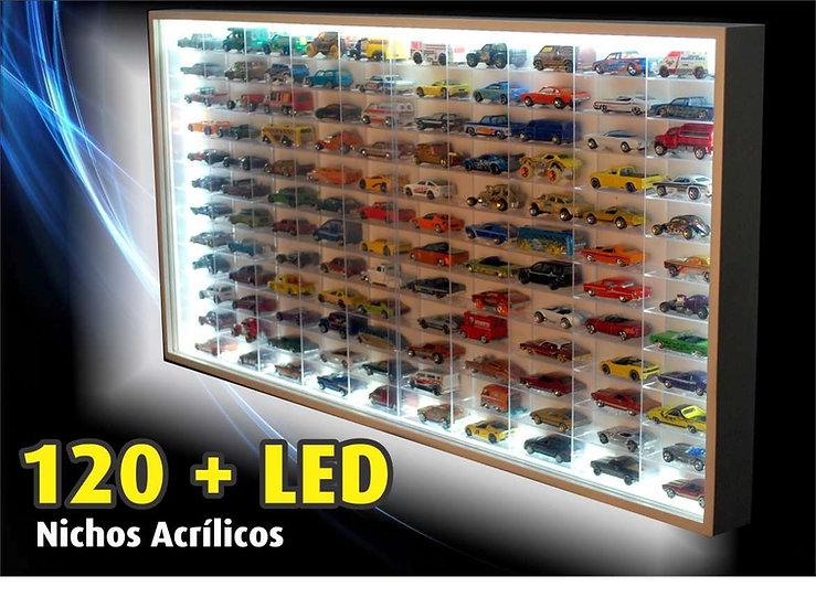 Estante Expositor 120 Nichos Acrílico Led 1:64 Coleção Miniaturas Hot