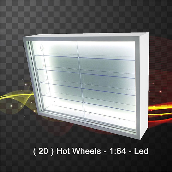 Estante ( 20 ) Hot Wheels - Expositor - Led - Com Portas