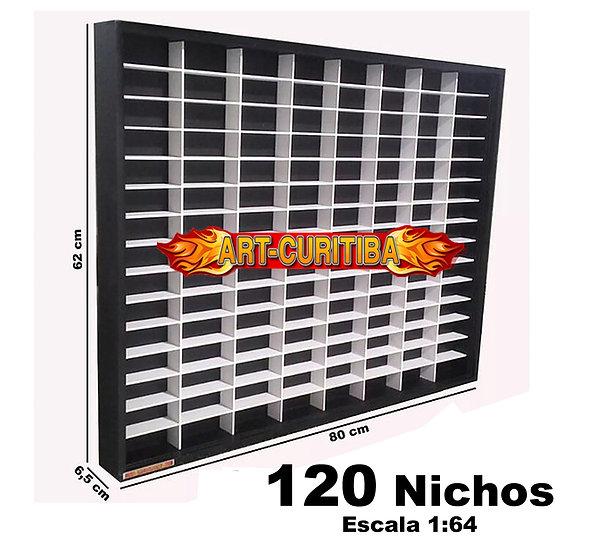 Estante Expositor 120 Nichos Hot Wheels - 1:64 - 80X62X6,5 - Preta Nicho Branco