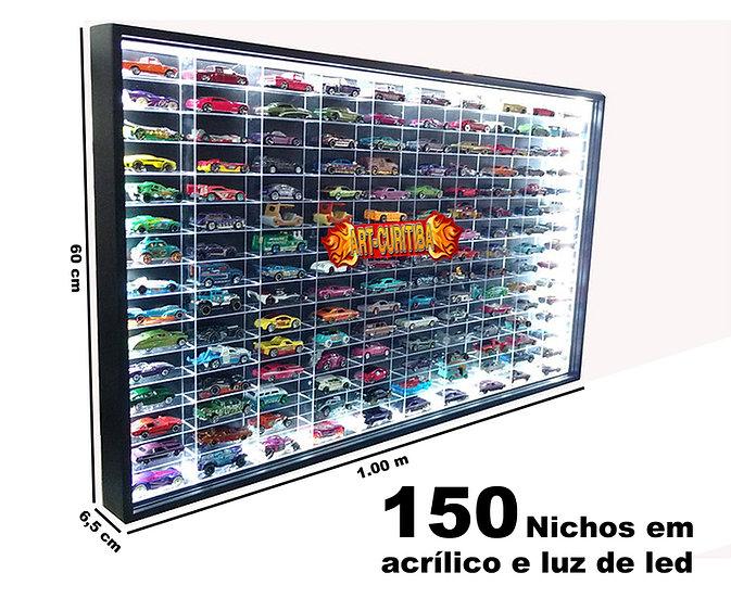 Estante Expositor Especial P/ 150 Hot Wheels - Com Luz Led - Preta