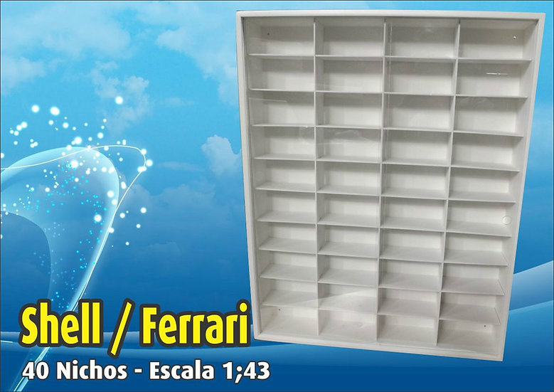 Estante ( 40 Nichos ) Shell - Ferrari 1:43 - Hot Whells