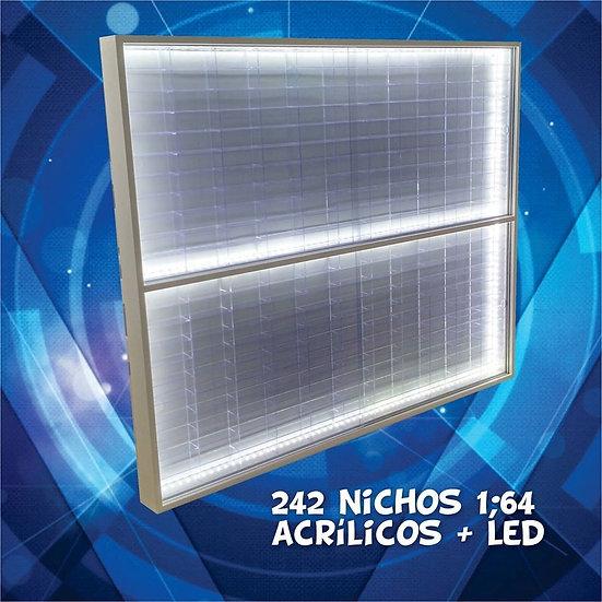 Estante Expositor ( 242 ) Nichos Hot Wheels Acrílico + Led