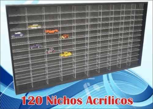Estante Expositor 120 Nichos Acrílico 1:64 Carrinhos Hot - Preta