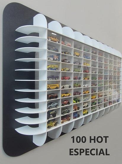 Estante Expositor 100 Nichos 1:64 Curve Coleção Miniaturas Hot Pt/Bc