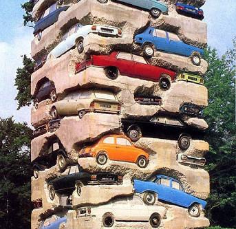 Tower of Cars SculptureLong term parking, art by Arman