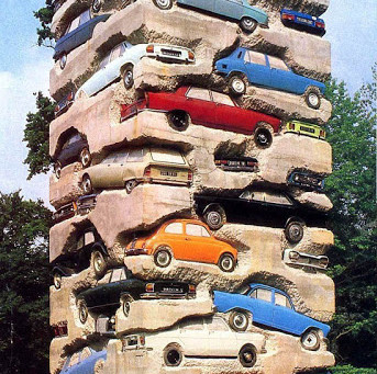 Tower of Cars SculptureLong term parking, art by Arman