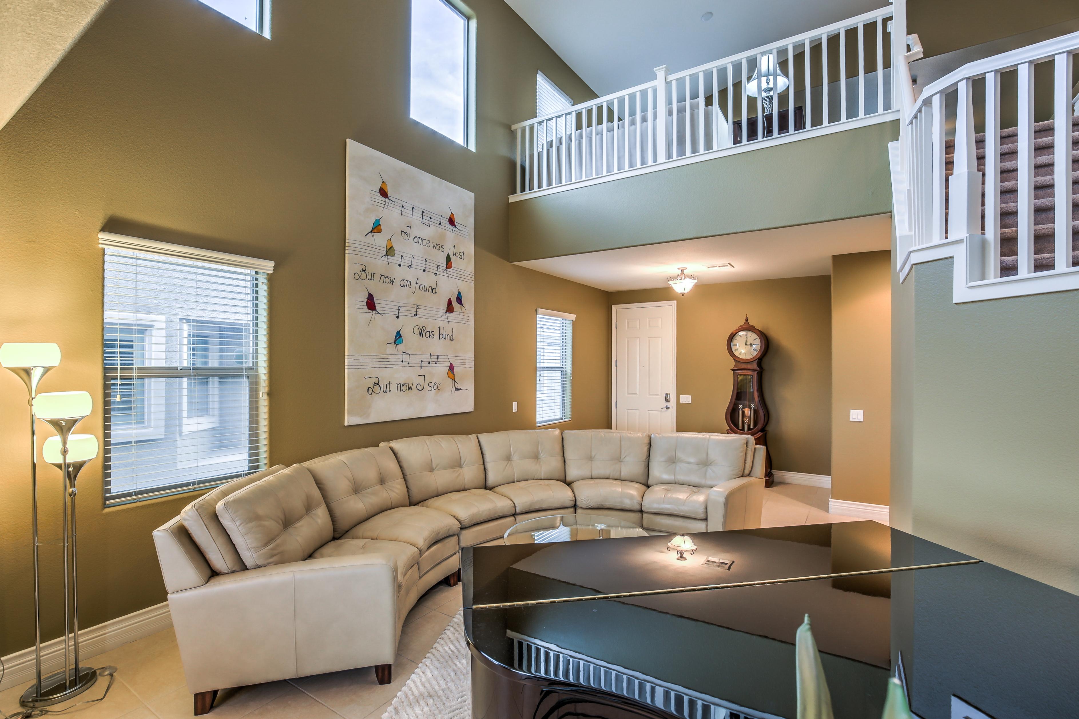 Living room near piano
