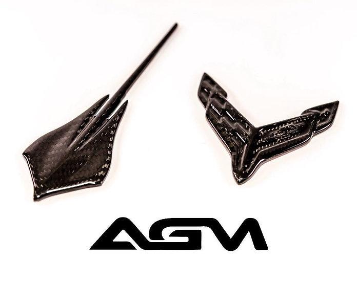 AGM C8 CORVETTE Carbon Fiber Front & Rear Emblems