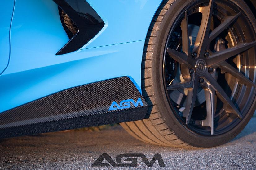 "AGM C8 CORVETTE Visible Carbon Fiber ""5VM"" Style SIDESKIRTS"