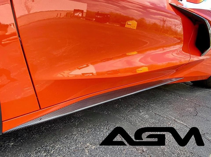 AGM C8 CORVETTE Visible Carbon Fiber ROCKER PANEL EXTENSIONS