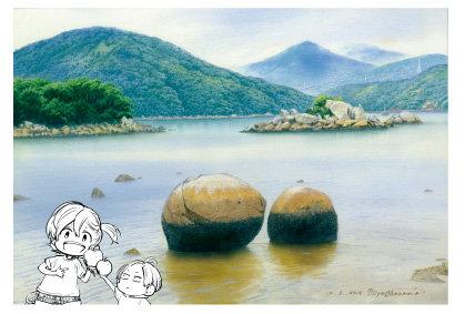 「堂崎のりんご石」五島百景×ばらかもん コラボレーション ポストカード