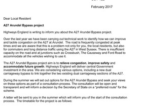 Highways England Letter to Arundel Residents - Feb 2017 - Bypass background & timetable