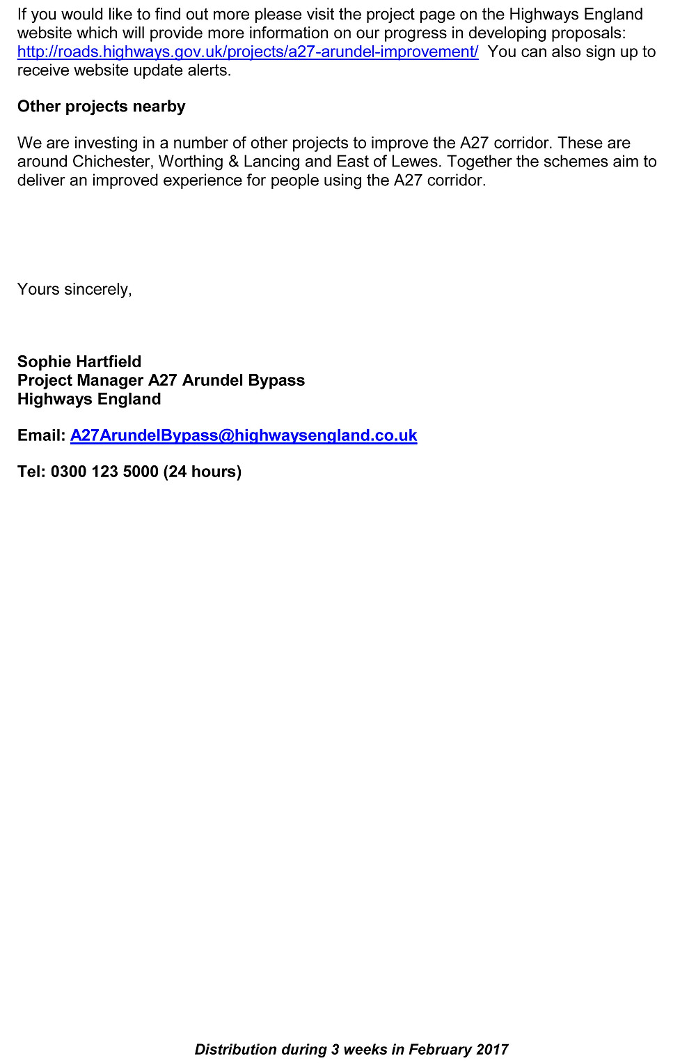 A27 Arundel Bypass Highways England letter Feb 2017