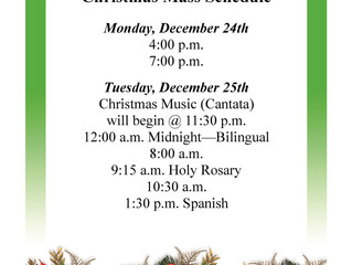 Sacred Heart and Holy Rosary Christmas Mass Schedule