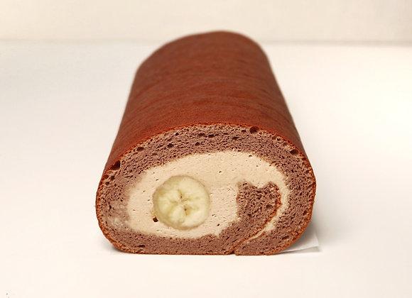 White Chocolate Hazelnut Banana Roll Cake