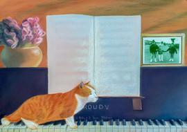 Gato, piano y tres hermanos de la mano