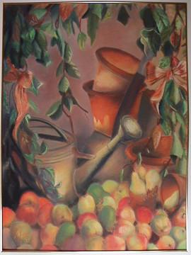 Bodegón de macetas y frutas