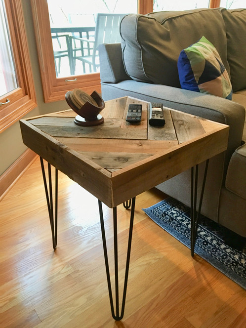 Herringbone Pattern End Table. Measures Approx. 20L X 20W X 23H. Made From  Reclaimed Pallets. A Nice Mix Of Rustic And Modern With Black Hairpin Legs.