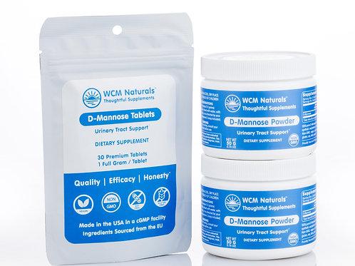 D-Mannose Mix & Match Bundle 2: 100 g Powder & 30 Tablets