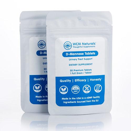 D-Mannose Tablets - 60 Tablets - 1 Full Gram/Tablet