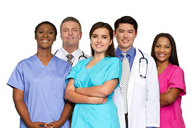 Multi ethnic group of healthcare profess