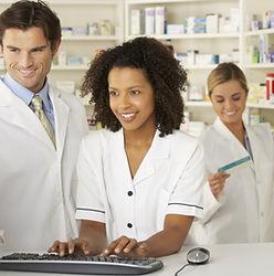 Nurse and pharmacists working in pharmac