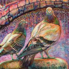 桜の水面に鳩が二羽