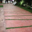 Walkway with tiles