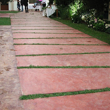 Walkway with tiles