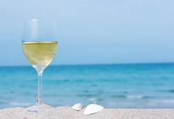 wine glass on beach