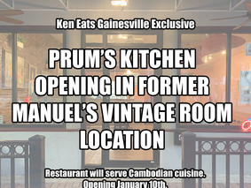Prum's Kitchen to Open In Former Manuel's Vintage Room Location