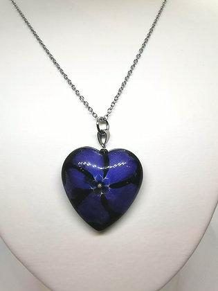 Halssmycke 'lila hjärta' (+lång kedja)