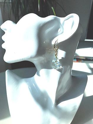 Örhänge med förgätmigej (guldfärgad krokar)