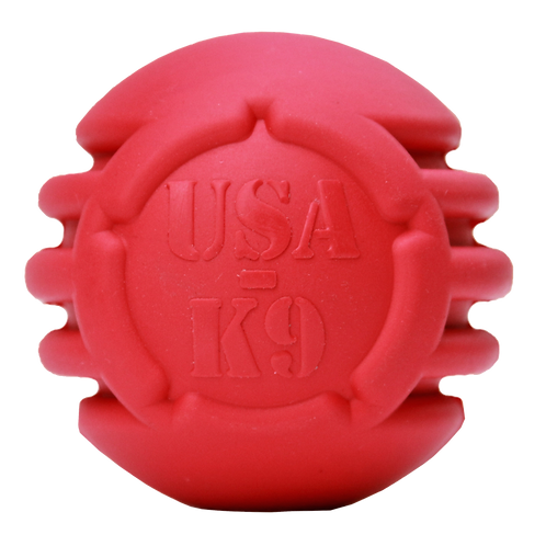 USA-K9 STARS AND STRIPES ULTRA-DURABLE RUBBER CHEW BALL - RED