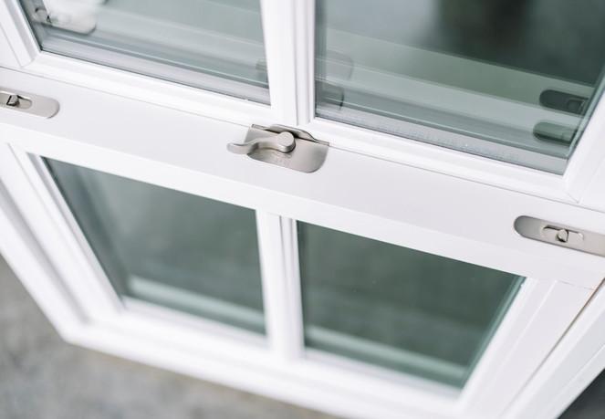 "Double Hung: Sherwin Williams prepainted white interior: Satin nickel hardware: 1-1/4"" SDL"