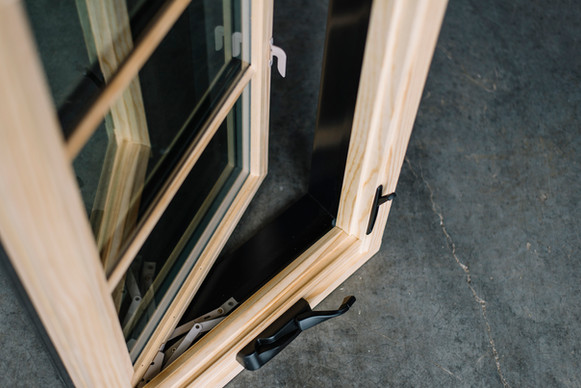 """Crankout casement: Showing nesting hardware: sequential locking system: 2"""" thick sash: 5/4 extra thick frame."""