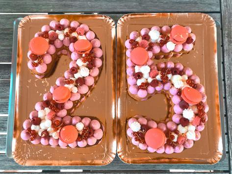 Number cake fruits rouges citron